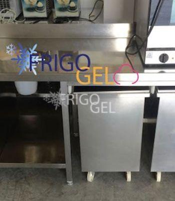 Tavolo con cassettiera vano a giorno e lavandino con alzatina in acciaio inox usato frigogel - Tavolo in acciaio inox usato ...
